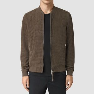 All Saints Suede Leather Bomber Jacket